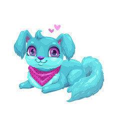 cute blue puppy with long hair vector image