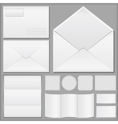 Envelope paper and postage stamps vector image vector image