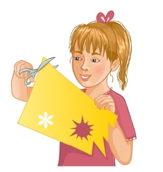 Girl is cutting color paper with scissors vector image