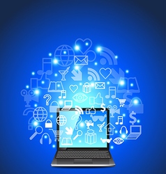 Laptop and network icons on blue background vector image