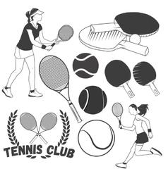 set of tennis sport labels in vintage style vector image