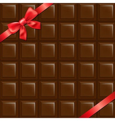 Chocolate Texture With Red Bow vector image vector image