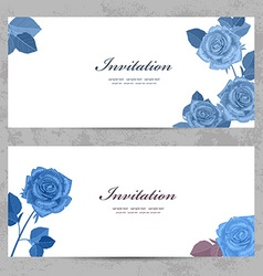 fashion collection greeting cards with blue roses vector image vector image