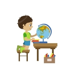 Little Boy Playing With Globe vector image vector image