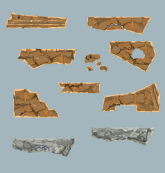 Painted set of various dilapidated stone parts vector