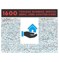 Real Estate Icon with Large Pictogram Collection vector image vector image