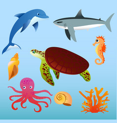 set of sea animals on light vector image vector image