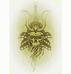 skull in the samurai helmet vector image
