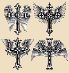 winged cross set vector image