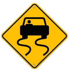 Yellow Wet Road Sign vector image vector image