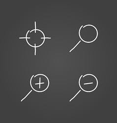 Zoom set icons draw effect vector image vector image