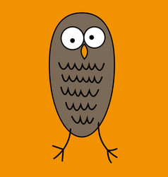 crazy funny owl with big eyes hand drawn vector image