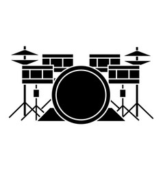 drums - drum set icon black vector image