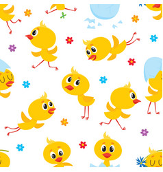 easter seamless pattern with funny baby chicken vector image