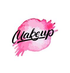 Makeup hand written lettering logo label emblem vector image vector image