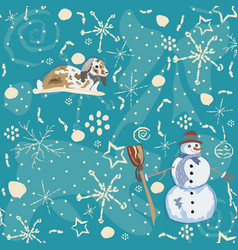 seamless winter pattern with doodles bunny and vector image