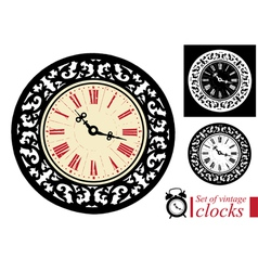 Set of vintage clocks vector image vector image