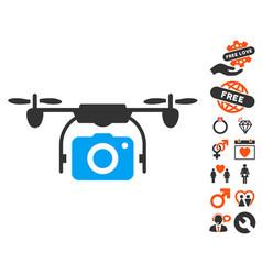 Camera drone icon with valentine bonus vector