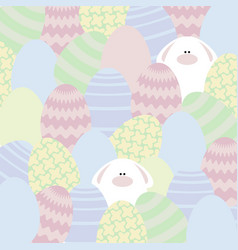 Card with eggs and rabbits vector