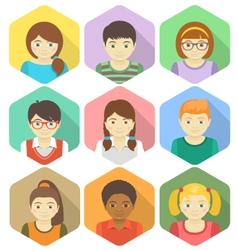 Kids Avatars in Hexagons vector image vector image