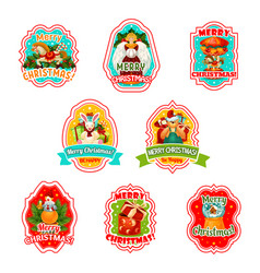 merry christmas holiday icons vector image vector image