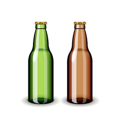 two empty glass beer bottles isolated on white vector image vector image