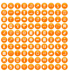 100 training icons set orange vector