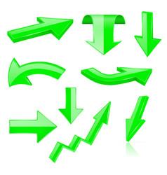 3d arrows green signs and symbols vector image