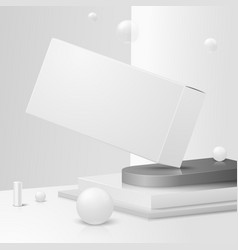 3d corner wall abstract scene with podium vector