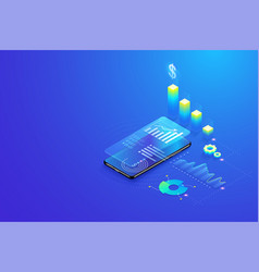 3d isometric mobile data analysis statistics data vector image