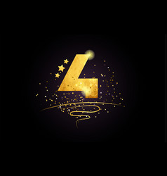 4 number icon design with golden star and glitter vector