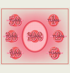 A set samples face values from 1 to 100 yuan vector