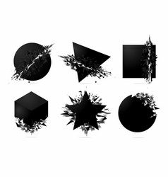 abstract explosion shapes set with black particles vector image