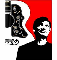 acoustic guitar-bg-w-guy vector image
