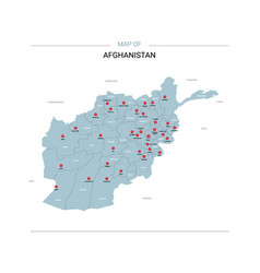 Afghanistan map with red pin vector