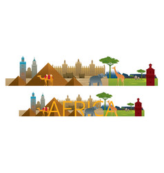 africa skyline landmarks with text or word vector image