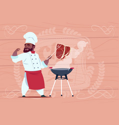 African american chef cook grill meat on bbq vector
