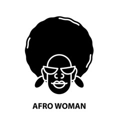Afro woman icon black sign with editable vector