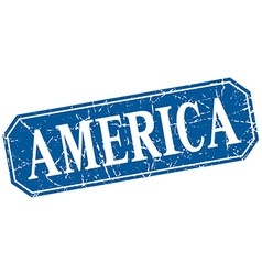 America blue square grunge retro style sign vector