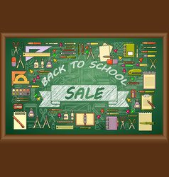 back to school sale banner on green vector image