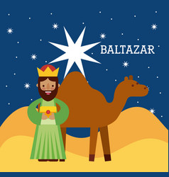 Baltazar wise king nad camel wise king manger vector