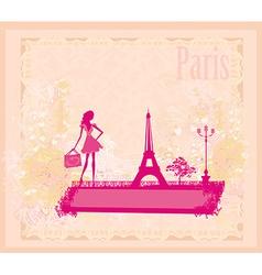 Beautiful women silhouette Shopping in Paris vector