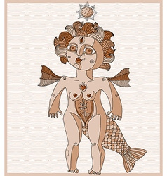 Bizarre creature nude woman with wings vector