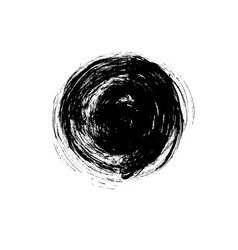 Black paint ink brush stroke circle shape vector