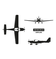 Black silhouette of airplane on white background vector