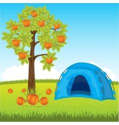 Blue tent under tree vector