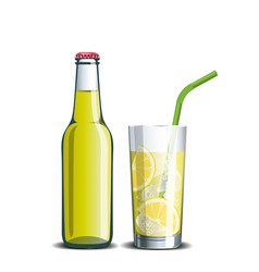 Bottle of lemonade and a drink in a glass with ice vector