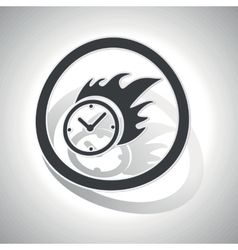 Burning clock sign sticker curved vector
