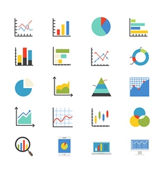Business Chart and Graph Flat Icons color vector image
