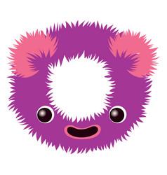 Cartoon cute purple and pink monster number zero vector